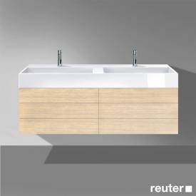 Burgbad Crono Waschtisch mit Waschtischunterschrank mit 4 Auszügen Front eiche fineline oregon/K: eiche fineline oregon/WT weiß