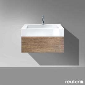 Burgbad Crono Waschtischunterschrank, 1 Auszug, Waschtisch weiß Front nussbaum natur / Korpus nussbaum natur/WT weiß