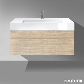 Burgbad Crono Waschtischunterschrank, 2 Auszüge, Waschtisch weiß Front eiche natur / Korpus eiche natur/WT weiß