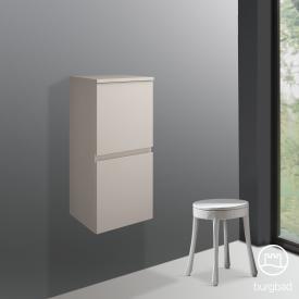 Burgbad Cube Halbhoher Schrank mit 2 Türen und 1 Innenschublade Front sand hochglanz / Korpus sand hochglanz