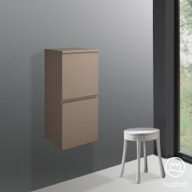 Burgbad Cube Halbhoher Schrank mit 2 Türen Front schilf hochglanz / Korpus schilf hochglanz