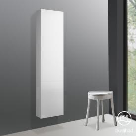 Burgbad Cube Hochschrank mit 1 Tür und 1 Spiegel Front weiß hochglanz / Korpus weiß hochglanz