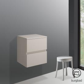 Burgbad Cube Unterschrank mit 2 Auszügen Front sand hochglanz / Korpus sand hochglanz