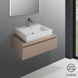 Burgbad Cube Waschtischunterschrank mit 1 Auszug Front schilf hochglanz / Korpus schilf hochglanz
