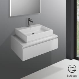 Burgbad Cube Waschtischunterschrank mit 1 Auszug Front weiß hochglanz / Korpus weiß hochglanz