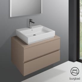 Burgbad Cube Waschtischunterschrank mit 2 Auszügen Front schilf hochglanz / Korpus schilf hochglanz