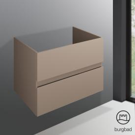 Burgbad Cube Waschtischunterschrank für Einbau- oder Unterbauwaschtisch mit 2 Auszügen Front schilf hochglanz / Korpus schilf hochglanz