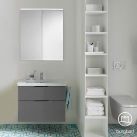 Burgbad Eqio Badmöbel-Set 1, Waschtisch mit Waschtischunterschrank und Spiegelschrank Front grau hochglanz / Korpus grau glanz, Griff schwarz matt