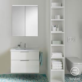 Burgbad Eqio Badmöbel-Set 1, Waschtisch mit Waschtischunterschrank und Spiegelschrank Front weiß hochglanz / Korpus weiß glanz, Griff chrom