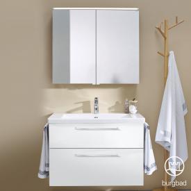 Burgbad Eqio Badmöbel-Set 1, Waschtisch mit Waschtischunterschrank und Spiegelschrank Front weiß hochglanz / Korpus weiß glanz, Stangengriff chrom