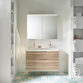 Burgbad Eqio Badmöbel-Set 2, Waschtisch mit Waschtischunterschrank und Spiegelschrank Front frassino cappuccino dekor / Korpus frassino cappuccino dekor, Griff chrom