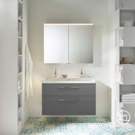 Burgbad Eqio Badmöbel-Set 2, Waschtisch mit Waschtischunterschrank und Spiegelschrank Front grau hochglanz / Korpus grau glanz, Stangengriff chrom