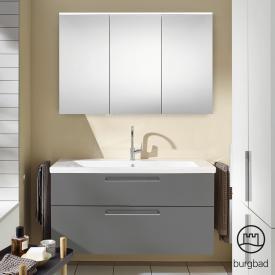Burgbad Eqio Badmöbel-Set 3 Waschtisch mit Waschtischunterschrank und Spiegelschrank Front grau hochglanz / Korpus grau glanz, Stangengriff chrom