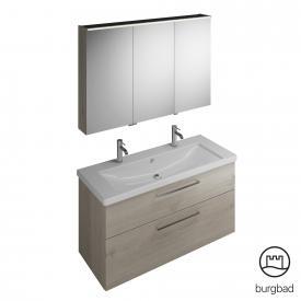 Burgbad Eqio Badmöbel-Set 4 Waschtisch mit Waschtischunterschrank und Spiegelschrank Front eiche flanell dekor / Korpus eiche flanell dekor, Stangengriff chrom