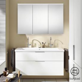 Burgbad Eqio Badmöbel-Set 4 Waschtisch mit Waschtischunterschrank und Spiegelschrank Front weiß hochglanz / Korpus weiß glanz, Griff chrom