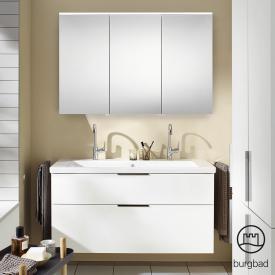 Burgbad Eqio Badmöbel-Set 4 Waschtisch mit Waschtischunterschrank und Spiegelschrank Front weiß hochglanz / Korpus weiß glanz, Griff schwarz matt