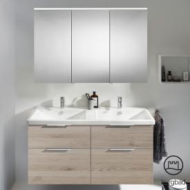 Burgbad Eqio Badmöbel-Set 5 Doppel-Waschtisch mit Waschtischunterschrank und Spiegelschrank Front eiche flanell dekor / Korpus eiche flanell dekor, Griff chrom