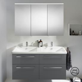 Burgbad Eqio Badmöbel-Set 5 Doppel-Waschtisch mit Waschtischunterschrank und Spiegelschrank Front grau hochglanz / Korpus grau glanz, Stangengriff chrom