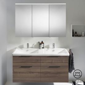 Burgbad Eqio Badmöbel-Set 5 Doppel-Waschtisch mit Waschtischunterschrank und Spiegelschrank Front marone trüffel dekor / Korpus marone trüffel dekor, Griff schwarz matt