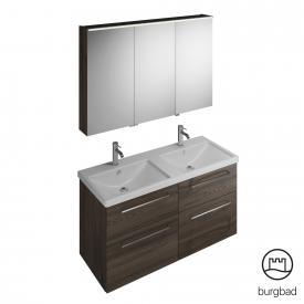 Burgbad Eqio Badmöbel-Set 5 Doppel-Waschtisch mit Waschtischunterschrank und Spiegelschrank Front marone trüffel dekor / Korpus marone trüffel dekor, Stangengriff chrom