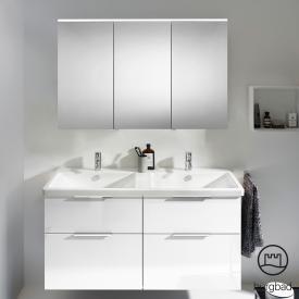 Burgbad Eqio Badmöbel-Set 5 Doppel-Waschtisch mit Waschtischunterschrank und Spiegelschrank Front weiß hochglanz / Korpus weiß glanz, Griff chrom