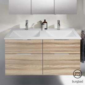 Burgbad Eqio Doppel-Waschtisch mit Waschtischunterschrank mit 4 Auszügen Front frassino cappuccino dekor / Korpus frassino cappuccino dekor, Griff chrom