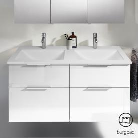 Burgbad Eqio Doppel-Waschtisch mit Waschtischunterschrank mit 4 Auszügen Front weiß hochglanz / Korpus weiß glanz, Griff chrom
