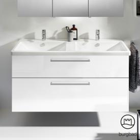 Burgbad Eqio Doppel-Waschtisch mit Waschtischunterschrank mit 2 Auszügen Front weiß hochglanz / Korpus weiß glanz, Stangengriff chrom