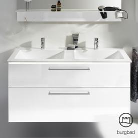 Burgbad Eqio Doppel-Waschtisch mit Waschtischunterschrank mit LED-Beleuchtung mit 2 Auszügen Front weiß hochglanz / Korpus weiß glanz, Stangengriff chrom