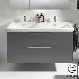 Burgbad Eqio Doppel-Waschtisch mit Waschtischunterschrank mit LED-Beleuchtung mit 2 Auszügen Front grau hochglanz / Korpus grau glanz / Stangengriff chrom