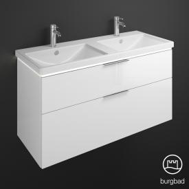 Burgbad Eqio Doppel-Waschtisch mit Waschtischunterschrank mit LED-Beleuchtung mit 2 Auszügen Front weiß hochglanz / Korpus weiß glanz, Griff chrom