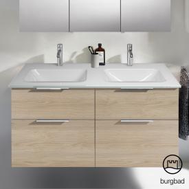 Burgbad Eqio Doppelwaschtisch mit Waschtischunterschrank mit 4 Auszügen Front eiche cashmere dekor / Korpus eiche cashmere dekor, Griff chrom
