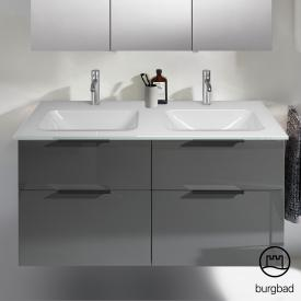 Burgbad Eqio Doppelwaschtisch mit Waschtischunterschrank mit 4 Auszügen Front grau hochglanz / Korpus grau glanz, Griff schwarz matt