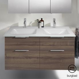 Burgbad Eqio Doppelwaschtisch mit Waschtischunterschrank mit 4 Auszügen Front marone trüffel dekor / Korpus marone trüffel dekor, Griff chrom