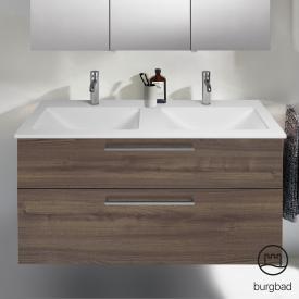 Burgbad Eqio Doppelwaschtisch mit Waschtischunterschrank mit 2 Auszügen Front marone trüffel dekor / Korpus marone trüffel dekor, Stangengriff chrom