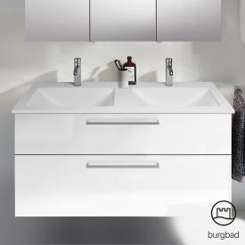 Burgbad Eqio Doppelwaschtisch mit Waschtischunterschrank mit 2 Auszügen Front weiß hochglanz / Korpus weiß glanz, Stangengriff chrom