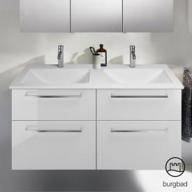 Burgbad Eqio Doppelwaschtisch mit Waschtischunterschrank mit 4 Auszügen Front weiß hochglanz / Korpus weiß glanz, Stangengriff chrom