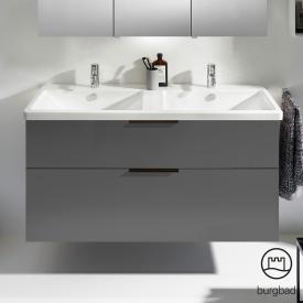 Burgbad Eqio Doppelwaschtisch mit Waschtischunterschrank mit 2 Auszügen Front grau hochglanz / Korpus grau glanz, Griff schwarz matt