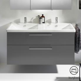 Burgbad Eqio Doppelwaschtisch mit Waschtischunterschrank mit 2 Auszügen Front grau hochglanz / Korpus grau glanz, Stangengriff chrom