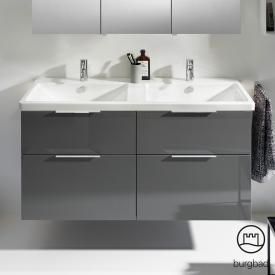Burgbad Eqio Doppelwaschtisch mit Waschtischunterschrank mit 4 Auszügen Front grau hochglanz / Korpus grau glanz, Griff chrom