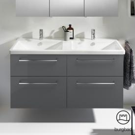 Burgbad Eqio Doppelwaschtisch mit Waschtischunterschrank mit 4 Auszügen Front grau hochglanz / Korpus grau glanz, Stangengriff chrom
