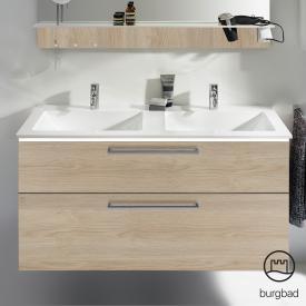 Burgbad Eqio Doppelwaschtisch mit Waschtischunterschrank mit LED-Beleuchtung mit 2 Auszügen Front eiche cashmere dekor / Korpus eiche cashmere dekor, Stangengriff chrom