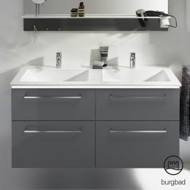 Burgbad Eqio Doppelwaschtisch mit Waschtischunterschrank mit LED-Beleuchtung mit 4 Auszügen Front grau hochglanz / Korpus grau glanz, Stangengriff chrom
