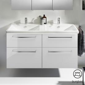 Burgbad Eqio Doppelwaschtisch mit Waschtischunterschrank mit LED-Beleuchtung mit 4 Auszügen Front weiß hochglanz / Korpus weiß glanz, Stangengriff chrom