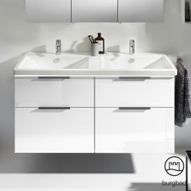 Burgbad Eqio Doppelwaschtisch mit Waschtischunterschrank mit LED-Beleuchtung mit 4 Auszügen Front weiß hochglanz / Korpus weiß glanz, Griff schwarz matt