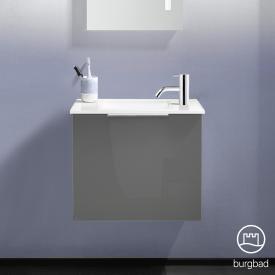 Burgbad Eqio Handwaschbecken mit Waschtischunterschrank mit 1 Klappe Front grau hochglanz / Korpus grau glanz, Griff chrom