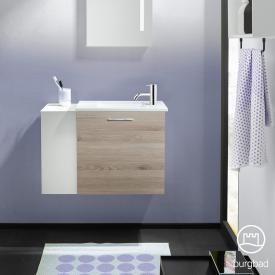 Burgbad Eqio Handwaschbecken mit Waschtischunterschrank mit 1 Klappe mit offenem Fach Front eiche flanell dekor/weiß matt / Korpus eiche flanell dekor, Stangengriff chrom