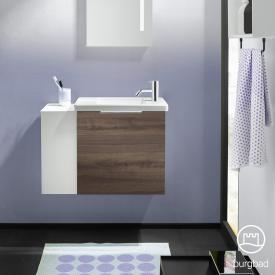 Burgbad Eqio Handwaschbecken mit Waschtischunterschrank mit 1 Klappe mit offenem Fach Front marone trüffel dekor / Korpus marone trüffel dekor, Griff chrom