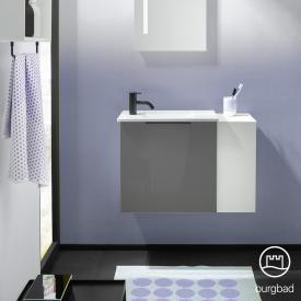 Burgbad Eqio Handwaschbecken mit Waschtischunterschrank mit 1 Klappe mit offenem Fach Front grau hochglanz/weiß matt / Korpus grau glanz, Griff schwarz matt