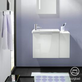 Burgbad Eqio Handwaschbecken mit Waschtischunterschrank mit 1 Klappe mit offenem Fach Front weiß hochglanz / Korpus weiß glanz, Griff chrom